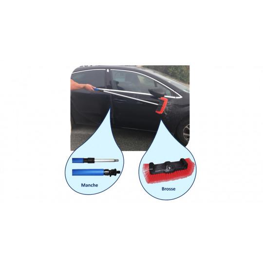 BALAIJET300 - Kit manche télescopique avec passage d'eau et brosse à triple face rouge