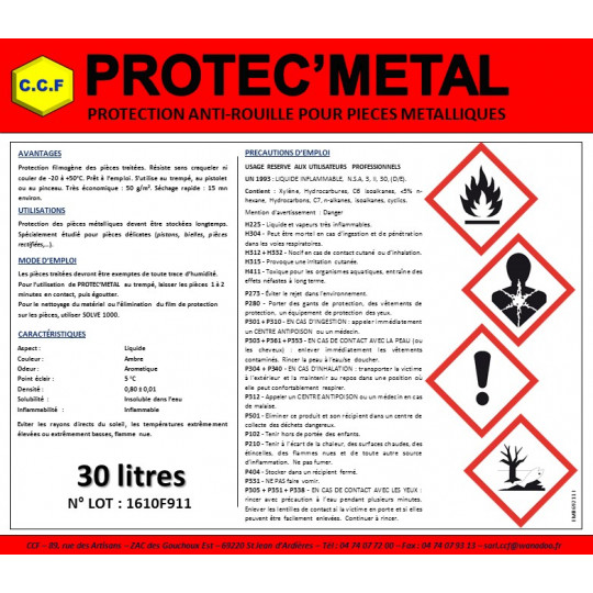 PROTEC'METAL - protection anti-rouille pour pièces métalliques